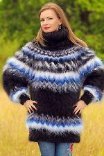 NEW black handknit mohair sweater Icelandic fuzzy Nordic thick jumper SUPERTANYA