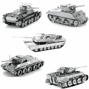 Set of 5 Metal Earth Tanks 3D Model Kit - M1 Abrams Sherman Tiger I Chi Ha T-34