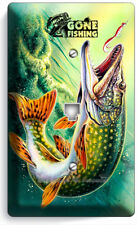 GONE FISHING PIKE LURE LAKE PHONE TELEPHONE WALL PLATE COVER ROOM CABIN HD DECOR