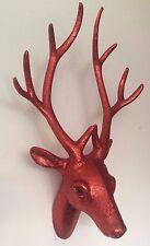 Cabeza de Ciervo Brillo Rojo Cuernos Caza Trofeo Lujo Regalo 40 Cm