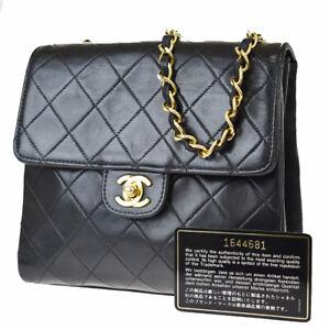 Auth CHANEL CC Logo Matelasse Chain Shoulder Bag Leather Black Vintage 621LB279