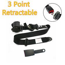 1Pcs Adjustable Retractable 3 Point Car Seat Belt Lap & Diagonal Belt Kit Black