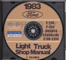 1983 Ford Truck Shop Manual 5 Book Set on CD F150 F250 F350 Bronco Van Service