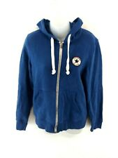 CONVERSE Womens Hoodie Jacket S Small Blue Cotton & Polyester