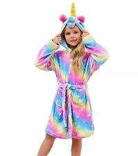 Soft Hooded Unicorn Bathrobe Rainbow Star Galaxy Girls