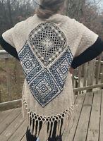 Umgee Boho Kimono Size Small Medium Tribal Print Crochet Fringe Duster Top
