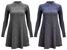 Polyester Turtleneck Knitted Dresses for Women