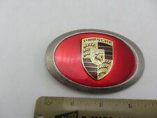Vintage Metal Enamel Porsche Stuttgart Car Automobile Company Logo Belt Buckle