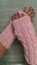 Fingerless Gloves, Knitted Mittens, Fall Fashion -in light pink