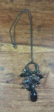 BLACK AND CLEAR BEADS BLACK CHAIN COSTUME NECKLACE