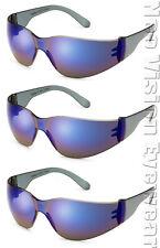 3 Pair/Pack Gateway Starlite Blue Mirror Safety Glasses Sunglasses Z87+ Z94.4