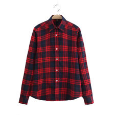 Womens Red Checked Shirt Top Blouse Warm New Brushed Flannel Cotton Size 10-16