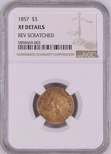 1857 $3 Three Dollar Indian Princess Gold Coin NGC XF Details