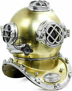 "Brass Antique Scuba SCA Marine Diving Divers Helmet US Navy Mark V Full Size 18"""