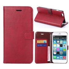 For iPhone 6 Plus/6s Plus Red Genuine Real Leather Business Wallet Case Cover