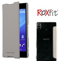 Roxfit Sony Xperia Z5 Ultra Slim Book Case Premium Flip Cover Silver Card Slot