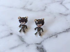 Adorable Black Cubic Zirconia Teddy Bear Stud Earrings with Movable Body