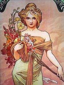 Poster Girl Flowers by Alphonse Mucha Tile Mural Kitchen Wall Backsplash Ceramic