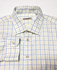 Burberry London Masculino Manga Longa Camisa De Algodão Tamanho Xl Branco Amarelo Azul  Xadrez e7cca89d301cf