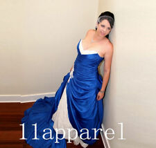 Royal Blue And White Lace Appliques satin Wedding Dress V Neck  Bridal Gown New