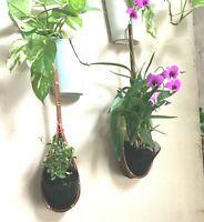 4 Pcs Woven Bamboo Hanging Plant  Flower Decor Garden Pot Orchid Wicker Basket