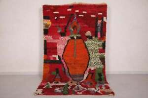 Vintage Azilal Rug Red Handmade berber moroccan wool carpet boujaad 5×8 feet