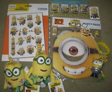 Despicable Me set: Minion soft toys, Pencil case keyring bracelet Tattoo's mask