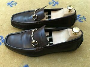 Gucci Mens Shoes Brown Leather Horsebit Loafers UK 8.5 US 9.5 EU 42.5 Drivers