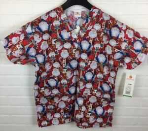 Peaches XS Womens Santa Claus Christmas Holiday Scrub Top Style 4144