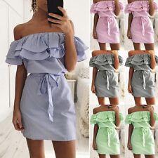 Women Ladies Summer Casual Beach Mini Dress Ruffle Off Shoulder Party Clubwear