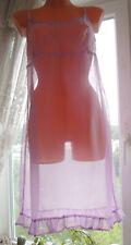 Vintage Lavender Ultra Sheer Chiffon Elegant Full Slip Nightgown M