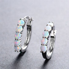 Exquisite Round Cut White Fire Opal Silver Plated Ear Buckle Women Fashion Gift