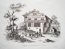 Bauernhaus bei Zürich Schweiz echter alter Kupferstich um 1840