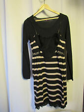 robe one step noire rayée beige 42