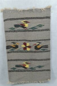 old Navajo weaving runner mat Chimayo 16x26 gray red birds original early 1900