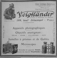 PUBLICITÉ PRESSE 1906 VOIGTLANDER APPAREILS PHOTOGRAPHIQUE OBJECTIF -ADVERTISING