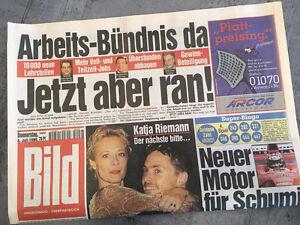 Bildzeitung vom 08.07.1999 * 18. 19. 20. Geburtstag Geschenk * Katja Riemann
