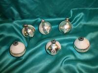 ~ 6 alte Christbaumkugeln Glas silber weiß Weihnachtskugeln Christbaumschmuck ~