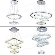 Modern Chandelier LED Crystal Pendant Lamp Round Ceiling Light Hanging Ring US