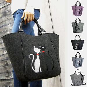 Women Large Crossbody Shoulder Bag Cute Cat Pattern Handbag Lady Casual Tote