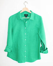 J.Crew Perfect Shirt Green Cotton Linen Fitted Button Down 12
