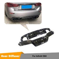 Carbon Fiber Rear Bumper Diffuser Lip Body Kit Fit For Infiniti Q50 2014-2016
