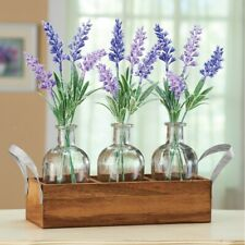 Lavender Arrangements in Wooden Bottle Crate Home Shelf/Table Decor