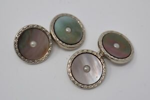 1920s-30s Vintage Art Deco SWANK Cufflinks Abalone & Seed Pearl - Excellent