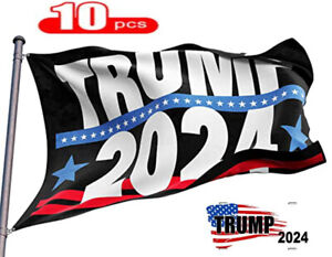 10Pcs Trump 2024 Large Flags 3x5ft USA Presidential Election Donald Trump Banner