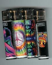 4 CLIPPER isobutane lighters hippie tie dye 1960's theme mushroom, peace sign