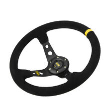 350mm Deep Dish 6 Bolt Sport Racing Steering Wheel Suede Leather Horn Button ac