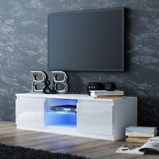 Onyx Designer Square White Gloss Luxury TV Unit / Cabinet LED Lights 140cm
