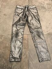CRB Girl metallic silver/ gray jeans girls sz 10/12
