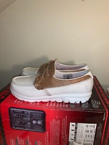 WOMENS SKECHERS GO WALK SIZE 10 WIDE WHITE & BROWN CANVAS LEATHER
